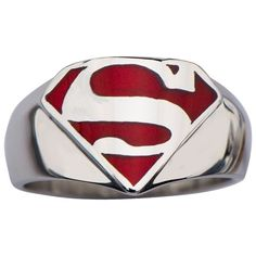 AUTHENTIC SUPERMAN DC COMICS MAN OF STEEL SHIELD LOGO STAINLESS STEEL RING 9-14