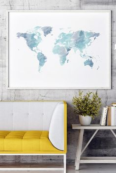 This gorgeous blue watercolor world map print will make you fall in love. Click through and style up your modern home with this blue world map wall art and many other designs by Coffee&Cats Design! World Map Decor, World Map Wall Art, Art World, Home Decor Bedroom, Diy Home Decor, Diy Bedroom, Bedroom Ideas, Watercolor World Map, Floral Bedroom