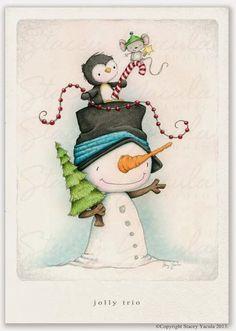 "Items similar to art print - christmas - winter - snowman - penguin - mouse - illustration - friends - ""JOLLY TRIO!"" on Etsy Christmas Clipart, Christmas Printables, Christmas Pictures, Christmas Snowman, Winter Christmas, Vintage Christmas, Christmas Holidays, Merry Christmas, Christmas Ornaments"