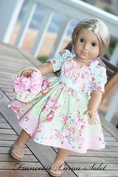 """American Girl Doll Clothes Peasant Twirl Dress with Belt 18"""" doll style - Secret Garden - Dress like my doll"""