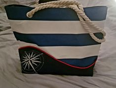 Sac Samba rayé marine et blanc cousu par Claire - Patron Sacôtin