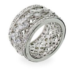 Sterling Silver Jewelry - Elegant Vintage Style Flower CZ Sterling Silver Ring