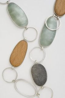 enamal pebble and wood necklace