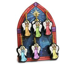 A set of 36 wooden angel ornaments and its decorative stand from a Nativity series  #burtonandburton #Christmas #stained #glass #wooden #ornaments #angel #ornaments #Carolyn #Figuereo #art
