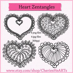 Zentangle Hearts Valentine Clipart Valentine by CheriesHeARTs, $2.50