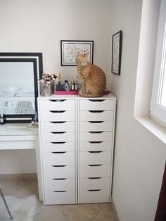 My make up storage/vanity/bedroom tour   Expat Make Up Addict-make up storage ideas-ikea Alex 9 drawers