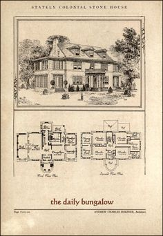 Stately Stone Colonial House by Architect Andrew Charles Borzner. The book of beautiful homes.php 132 p. The Sims, Sims 4, Vintage House Plans, Vintage Houses, Sims House, Mid Century House, House Layouts, Kit Homes, Classic House
