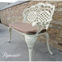 Bench: Fully cast bench with chocolate seat pad included. Weight is Includes: 1 x Bench with Seat Cushion X Bench, Seat Pads, Seat Cushions, Minimalism, Stool, Victoria, Cream, Furniture, Home Decor