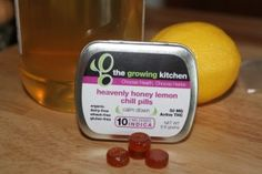 The Growing Kitchen-Heavenly Honey Lemon Chill Pills. Described as deliciously calming, throat soothing, all natural hard candy made with local honey. These Honey Lemon Chill Pills are medicated with 50mg Active THC, and are organic, dairy free, gluten free, and wheat free. #edibles #thegrowingkitchen #honey #lemon #chillpill