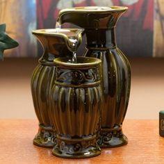 Three Vases Ceramic Tabletop Fountain
