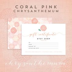 Printable Gift Certificate Template   Chrysanthemum Coral Pink Collection