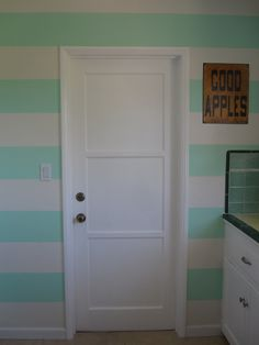 bold, bright stripes in the kitchen