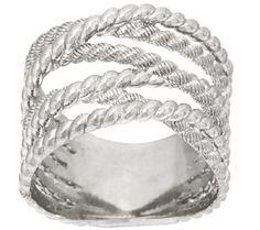 Judith Ripka Sterling Multi Cross Over Ring