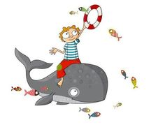 autocolante decorativo infantil rapaz na baleia
