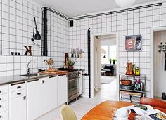 Beautiful Use of White Ceramic Tiles Attached on Entire Part of Wall Displaying Expossed Black Beams for Industrial Look : Inspirational Interior and Exterior Home Design Ideas – TheMakaroni.com