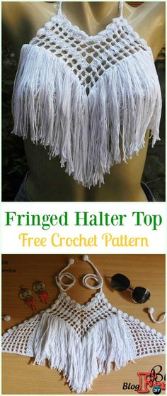 Crochet Fringed Crop Top Free Pattern Video-#Crochet Summer Halter #Top Free Patterns