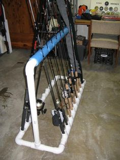 Homemade rack for fishing poles -