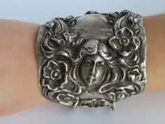 Exceptionally Art Nouveau Sterling Silver Cuff by CelebLuxe