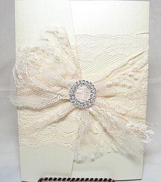 ROSIE-1 Lace Wedding Invitation, Invite, Vintage, Shabby Chic, Couture, Elegant Etsy