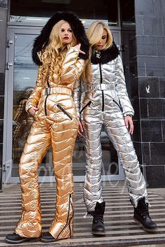 odri gold and silver suits Winter Suit, Winter Gear, Ski Jumpsuit, Down Suit, Moon Boots, Puffy Jacket, Snow Skiing, Overalls, Suits