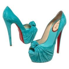 Pre-Owned Christian Louboutin Turquoise Suede Lady Gres Peep Toe... ($505) ❤ liked on Polyvore featuring shoes, pumps, christian louboutin, multi, suede platform pumps, peep-toe pumps, platform shoes, platform pumps and peeptoe pumps