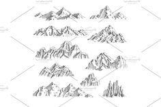 Outdoor wild nature rocks and mountains collection vector hand drawn set. Mountain Outline, Mountain Sketch, Landscape Sketch, Wild Nature, Mountain Landscape, Business Design, Tourism, How To Draw Hands, Scenery