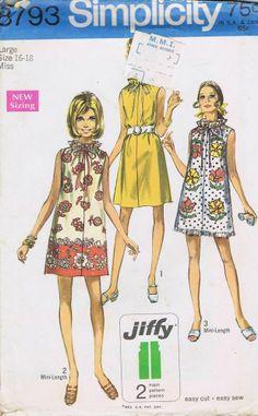 "Muu Muu Dress 1970s SEWING PATTERN SIMPLICITY 8793 SIZE 16 BUST 38 HIP 40"" UNCUT"