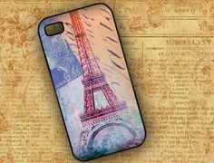 Iphone cover - Eiffel tower Iphone 4 cover - Paris Iphone 4 case, French Iphone 4s cellphone cover - Old Paris postcard (9579). $16.99, via Etsy.