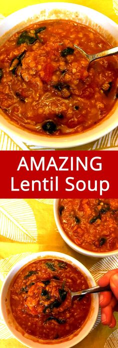 Easy Lentil Spinach Soup – Healthy, Vegan, Gluten-Free & So Filling! Chili Recipes, Soup Recipes, Whole Food Recipes, Vegetarian Recipes, Cooking Recipes, Healthy Recipes, Vegan Soups, Best Lentil Recipes, Best Lentil Soup Recipe