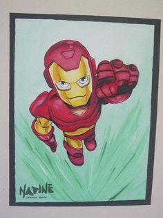 """""""Homem de Ferro""""  Sala de aula - tema """"Heróis e Princesas"""" Feita com tinta de parede e pigmento."""