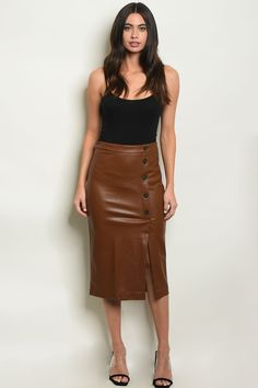 Pair your favorite business button down blouse with this solid color leather skirt. It comes up to your waistline and runs true to size. This skirt comes in two different colors: Coffee, and Black. With buttons going down the side and a small sli. Leather Midi Skirt, Brown Leather Skirt, High Waisted Pencil Skirt, Pencil Skirts, Pencil Dress, Womens Fashion Stores, Brown Skirts, Skirts For Sale, Fitted Skirt
