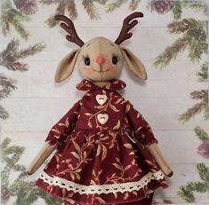 Deer art doll stuffed animal stuff ooak animal woodland