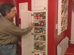 Steps for installing a built-in spice rack between two wall studs to create useful storage with character.