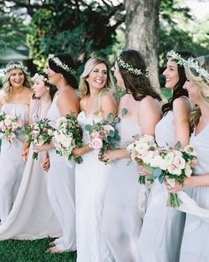 """Something Blue"" Bridesmaid Dresses, Flower Crowns & Pastel Bouquets 