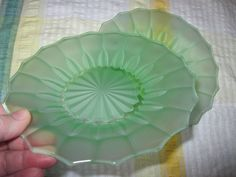 Vintage 1930 Painted Green Bagley Art Deco Frosted Glass Somerset Posy Bowl 3170 Modern And Elegant In Fashion Bagley/sowerby/davidson