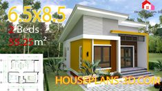 Simple House Design Plans with 3 Bedrooms Full Plans - House Plans Narrow Lot House Plans, Simple House Plans, Simple House Design, Modern House Plans, 2 Bedroom House Plans, Beach House Plans, House Floor Plans, House Layout Plans, House Layouts