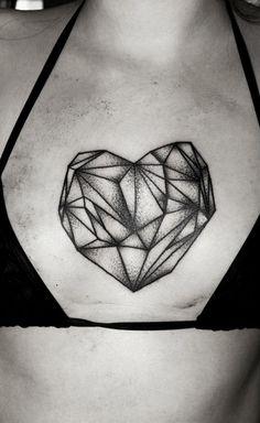 geometric heart tattoo, dot work