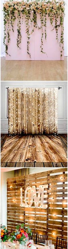 The photo booth backdrop can be made of drapes, shiny strips or wooden palettes. #photobooth
