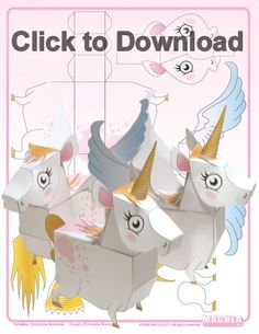 Unicorn Paper Toy from Free Unicorn Printables via Mandy's Party Printables
