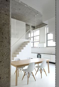 The creative Loft FOR renovation by adn Architecture demonstrates a modular, multidimensional solution. Two metallic structures flank the Simple Interior, Minimalist Interior, Best Interior, Interior Minimalista, Loft Spaces, Living Spaces, Apartment Interior Design, Interior Decorating, Decorating Ideas
