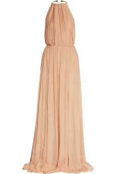 Just Cavalli pleated silk chiffon gown with a gold-tone metal collar.....GODDESS