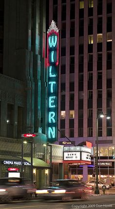 The Wiltern neon sign, Neon Signs Along Wilshire Boulevard, Los Angeles