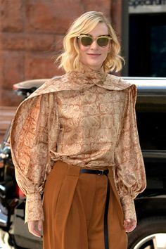 Kittens, if you think YOU had a bear of a Monday, spare a moment of sympathy for Good Lady Cate, who hit the sidewalks of New York came the dawn and Whered You Go Bernadette, The Row Bag, Sergio Rossi Shoes, Cate Blanchett, Vogue Fashion, Work Attire, Movie Stars, Bell Sleeve Top, Ruffle Blouse