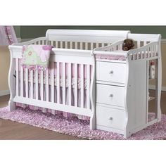 White Crib with attached changing table