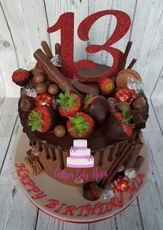 Chocolate drip cake. Chocolate dipped strawberries. 13th birthday cake.