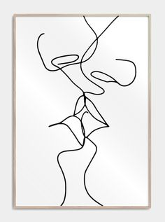 One line drawing plakater med to mennesker der kys Face Line Drawing, Drawing Faces, Cuadros Diy, Abstract Line Art, Abstract Drawings, Fantasy Kunst, Wire Art, Minimalist Art, Easy Drawings