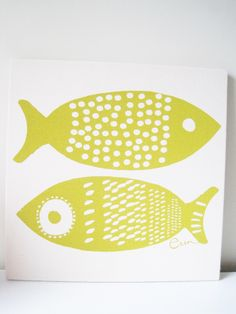 Yellow Fish Framed Art, Stretched Cotton Bark Cloth on Wooden Frame, Silk Screen Print by erinflett on Etsy https://www.etsy.com/listing/129079063/yellow-fish-framed-art-stretched-cotton