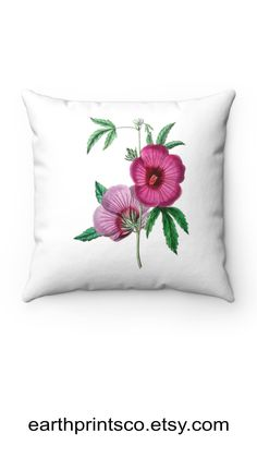 """Floral throw pillow cover / botanical throw pillowcase / Hibiscus flower cover for accent pillows ✻ Pillow cover / Pillowcase ✻ floral botanical design ✻ Scarlet rosemallow hibiscus flower design ✻ Available 4 sizes: 14""""x14"""", 16""""x16"""", 18""""x18"""", 20""""x20"""" ✻ Pillow is not included ✻ 100% Polyester ✻ Double-sided print ✻ Concealed zipper Square Pillow Covers, Throw Pillow Covers, Pillow Cases, Floral Throw Pillows, Accent Pillows, Hibiscus Flowers, Scarlet, Flower Designs, Zipper"""