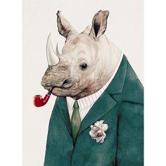Animal Crew Rhino Green (300 MXN) ❤ liked on Polyvore featuring animals