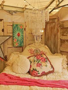 Shabby Chic White Boho/Gypsy Bedroom. OMG!